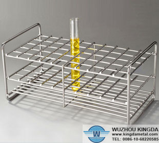Laboratory metal test tube rack