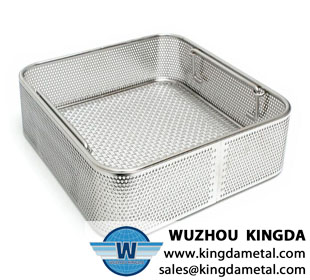 Medical perforated sterilizing basket