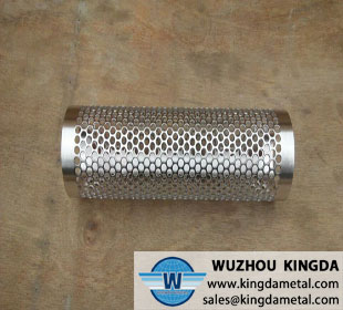 Perforated metal oil filter tube