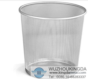 Round metal mesh waste basket