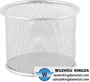 Round wire metal pen pot