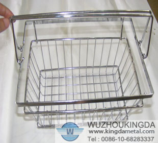 Stainless steel basket in shop