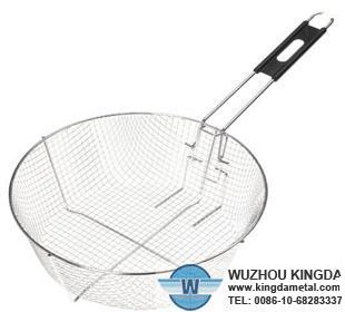 Wire mesh strainer frying basket