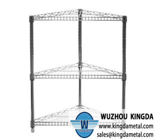 Wire shelving corner rack