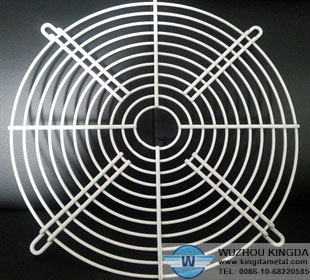 White wire mesh fan guard
